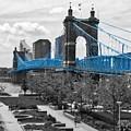 Suspension Bridge At Cincinnati Selective Color by Mel Steinhauer