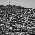 Sutro Tower San Francisco Black And White by Donnie Whitaker