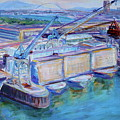 Swan Island Poetry - Large Original Contempory Impressionist Painting by Quin Sweetman