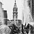 Swann Memorial Fountain In Black And White by Bill Cannon