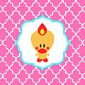 Sweet Angel Bird Cute Pink Trellis Decorative Pillow And Square Wall Art Print by Olga Davydova
