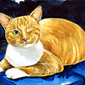 Sweet Melon - Ginger Tabby Cat Painting by Dora Hathazi Mendes