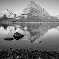 Swift Current Lake Reflection Black And White  by John McGraw