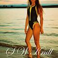 Swimsuit Girl Ad Sunset Large Print by Steve Krull