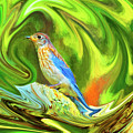 Swirling Bluebird Abstract by Kay Brewer