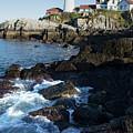 Swirling Waves At Portland Head Light, Cape Elizabeth Me #30107 by John Bald