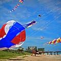 Swirly Kites On Flagler Beach by Alice Gipson