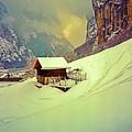 Switzerland Alps Grutschap Alpine Meadow Winter  by Tom Jelen