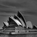 Sydney Opera House Print Image In Black And White by Chris Smith