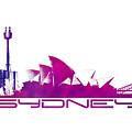 Sydney Skyline Purple by Justyna JBJart