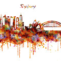 Sydney Watercolor Skyline by Marian Voicu