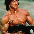 Sylvester Stallone And Browning Machine Gun Rambo 1985 by David Lee Guss