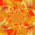 Symmetrical Abstract In Orange by Clive Littin