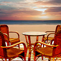 Table For Four At The Beach At Sunset by Elaine Plesser
