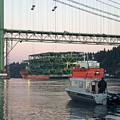 Tacoma Narrows Bridge With Patrol Boat In Foreground by Alan Espasandin