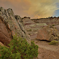 Tail End Of Storm At Sunset Over Bentonite Site by Ray Mathis