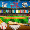 Take Me Out To The Ballgame Recycled Vintage License Plate Art Collage by Design Turnpike