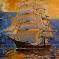 Tall Ship In The Sunset by Richard Le Page