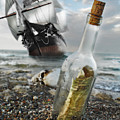 Tall Ship Message In A Bottle by Joseph Halasz