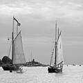 Tall Ships Sailing I In Black And White by Suzanne Gaff