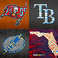 Tampa Bay Sports Fan Recycled Vintage Florida License Plate Art Bucs Rays Lightning Plus State Map by Design Turnpike
