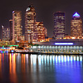 Tampa Skyline At Night Early Evening by Jon Holiday