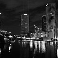 Tampa Skyline West Night Black And White by Larry Underwood