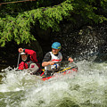 Tandem Canoe In Rapids by Les Palenik