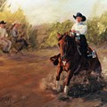 Tango Reining Horse Slide Stop Portrait Painting by Kim Corpany