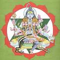 Tantrik Diagram Of Lord Shiva, Mantra Yantra ,indian Miniature Painting, Watercolor Artwork, India by B K Mitra