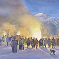 Taos Pueblo On Christmas Eve by Jane Grover