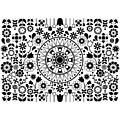 Tapiz Flores Black And White by Karina Rondon