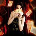 Tarot Magician Holding Magic Fire Cards Of Fate by Jorgo Photography - Wall Art Gallery