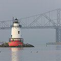 Tarrytown Lighthouse And Tappan Zee Bridge I by Clarence Holmes