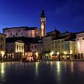 Tartini Square Plaza In Piran Slovenia With City Hall, Tartini S by Reimar Gaertner