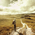 Tasmanian Man On Road In Nature Reserve by Jorgo Photography - Wall Art Gallery