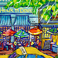 Taxi Cab To The Hawk N Dove Pub Capitol Hill Sidewalk Patio American Watercolor Streetscene Cspandau by Carole Spandau
