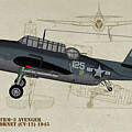 Tbm-3 Avenger Profile Art by Tommy Anderson