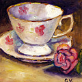 Tea Cup With Rose Still Life Grace Venditti Montreal Art by Grace Venditti