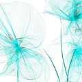 Teal Abstract Flowers by Lourry Legarde