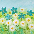 Teal Flowers And Daisies by Teodora Totorean