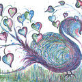 Teal Hearted Peacock Watercolor by CheyAnne Sexton