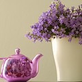 Teapot And Flowers In A Vase by Ben Welsh