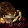 Teapot With Fruit Still Life by Tom Mc Nemar