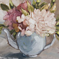 Teapot With Peonies by Tanya Jansen