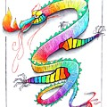Technicolor Dragon -- Rainbow-colored Whimsical Dragon  by Jayne Somogy