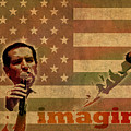 Ted Cruz For President Imagine Speech 2016 Usa Watercolor Portrait On Distressed American Flag by Design Turnpike