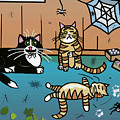 Cats Having Fun Playing With Spiders by Frances Gillotti