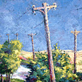 Telephone Poles Before The Rain by Lewis Bowman
