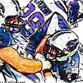 Tennessee Titans Karl Klug And Chris Hope And Minnesota Vikings Adrian Peterson by Jack K